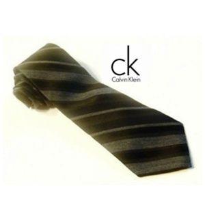 Calvin Klein Striped Tie Neckwear Silk Black Grey